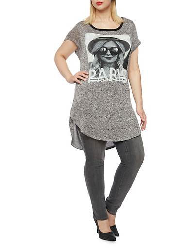 Plus Size Graphic Knit Tunic Top,HEATHER GREY,large