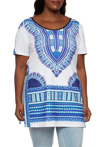 Plus Size Dashiki Print Tunic Top with Split Sides,ROYAL-RUST,large