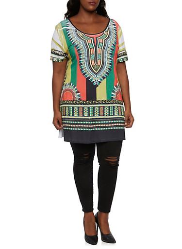 Plus Size Dashiki Print Tunic Top with Side Slits,GREEN STRIPE,large