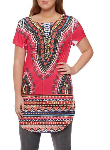Plus Size Dashiki Print Tunic Top,FUCHSIA PRT,large
