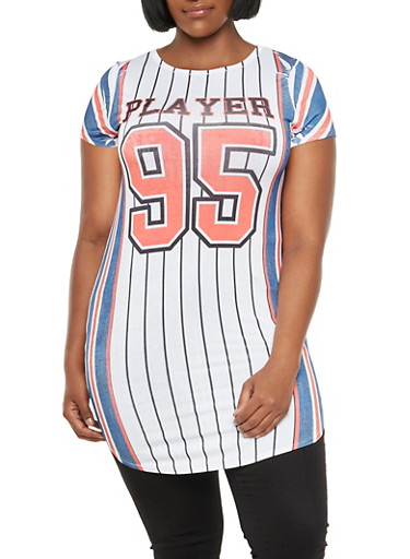 Plus Size Tunic Top with Baseball Stripes and Player 95 Graphic,NAVY-WHITE-RED,large