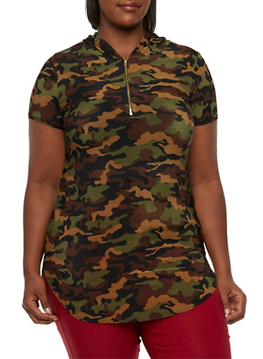 Hooded Camo Top with Zip-Up Front,OLIVE  PRT,large