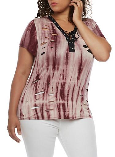 Plus Size Tie Dye Lace Up T Shirt,MAUVE,large