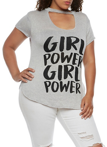 Plus Size Girl Power Graphic Top with Choker Neck,GRAY,large