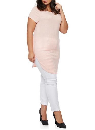Plus Size Rib Knit Tunic Top,BLUSH,large