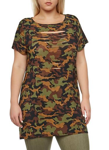 Plus Size Camo Tunic Top with Slash Cuts,OLIVE PRT,large