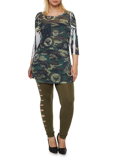 Plus Size Mesh Tunic Top in Camo Print,OLIVE PRT,large