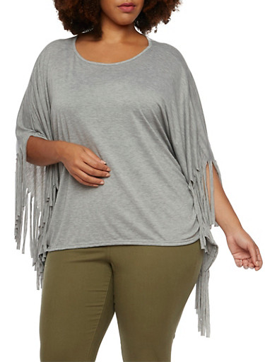 Plus Size Poncho Top with Fringe Accents,HEATHER GRAY,large