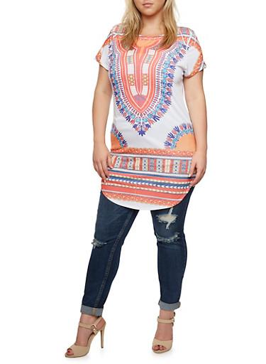 Plus Size Tunic Top in Dashiki Print,WHITE-RUST PRT,large