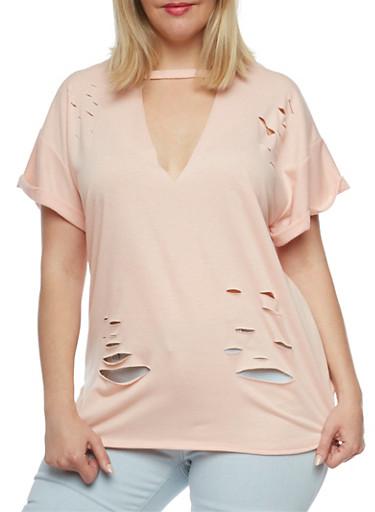 Plus Size Lasercut Choker T Shirt,BLUSH,large