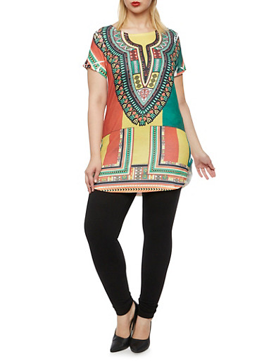 Plus Size Dashiki Print Tunic Top with Round Hem,MUSTARD PRT,large