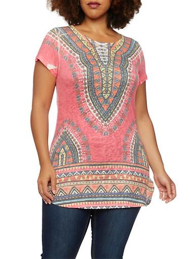 Plus Size Dashiki Print Tunic Top with Scoop Neck,FUCHSIA PRT,large