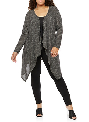 Plus Size Laser Cut Long Sleeve Duster,CHARCOAL,large