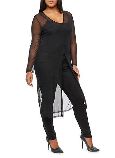 Plus Size Long Sleeve Mesh Maxi Top,BLACK,large