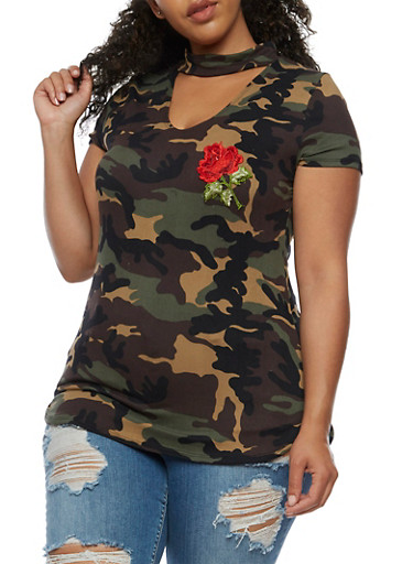 Plus Size Camouflage Top with Floral Applique,OLIVE,large
