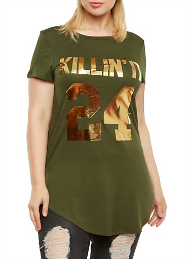 Plus Size Tunic Top with Killin It Graphic,OLIVE,large