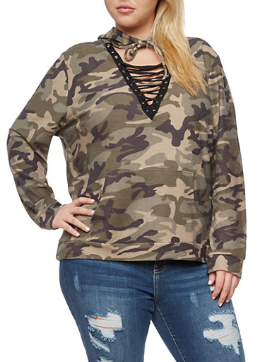 Plus Size Camo Lace Up Keyhole Hoodie,OLIVE,large
