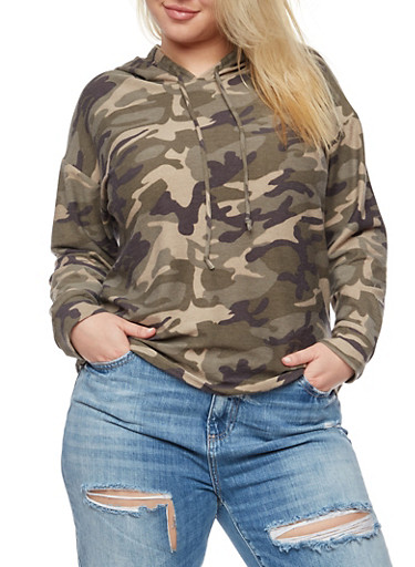 Plus Size Camo Hoodie,OLIVE,large