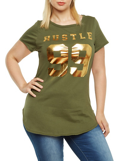 Plus Size Tunic Top with Hustle 99 Gold Foil,OLIVE,large