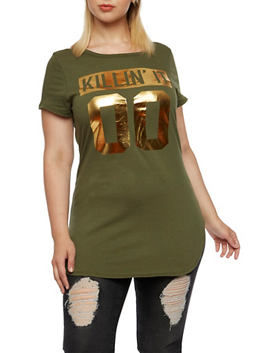 Plus Size Tunic Top with Killin It 00 Graphic,OLIVE,large