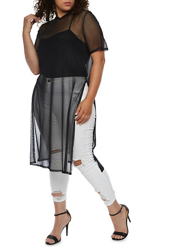Plus Size Hooded Mesh Maxi Top with Side Slits,BLACK,large