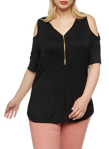 Plus Size Cold Shoulder Top with Zip Front,BLACK,large