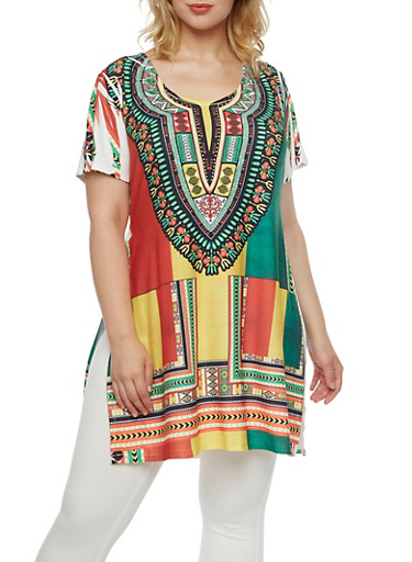 Plus Size Dashiki Print Tunic Top with Side Slits,WHITE-ROYAL,large