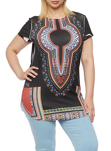 Plus Size Dashiki Print Top with Round Hem,BLACK MULTI,large