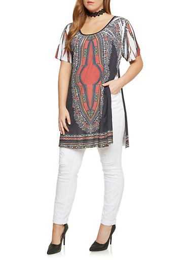 Plus Size Dashiki Print Top with Side Slits,BLACK,large