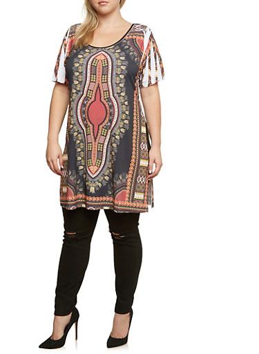Plus Size Dashiki Print Tunic Top,BLACK,large