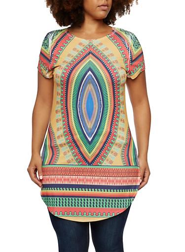 Plus Size Dashiki Print Tunic Top,MUSTARD,large