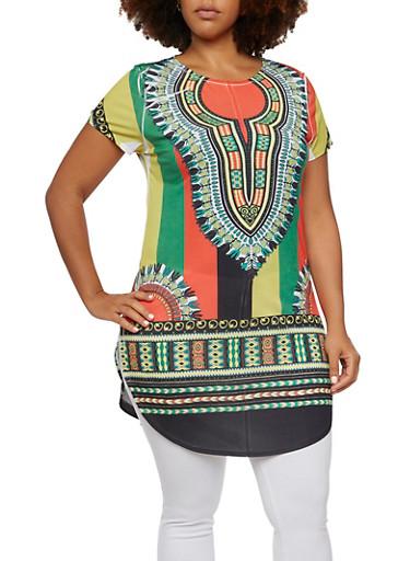 Plus Size Dashiki Print Tunic Top,GREEN,large