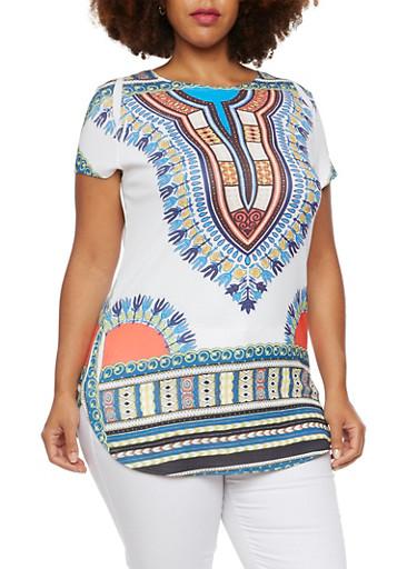Plus Size Dashiki Print Tunic Top with Scoop Neck,BLACK,large