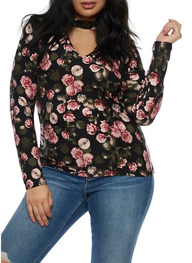 Plus Size Floral Choker Neck Top,BURGUNDY,large