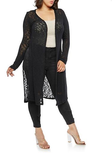 Plus Size Side Slits Cardigan,BLACK,large