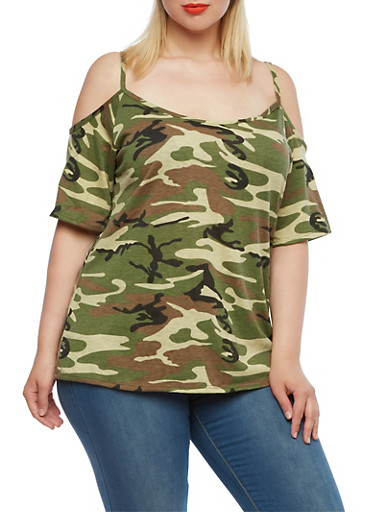 Plus Size Cold Shoulder Camo Top,OLIVE,large