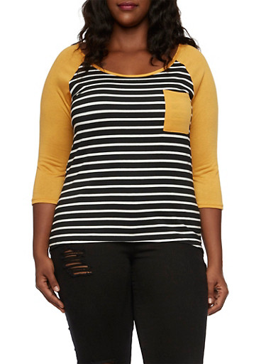 Plus Size Striped Top with High Low Hem,BLACK-MUSTARD,large