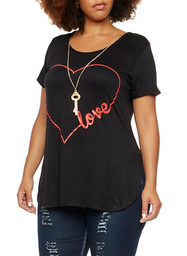 Plus Size Graphic T-Shirt with Key Necklace,BLACK-RED,large