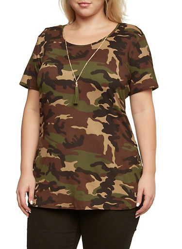 Plus Size Camo Print Top with Scoop Neck,OLIVE,large