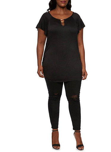 Plus Size Ruched Top with Metal Trim Neckline,BLACK,large