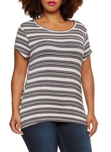 Plus Size Striped Top with High-Low Hem,BLACK-REY- WHITE,large