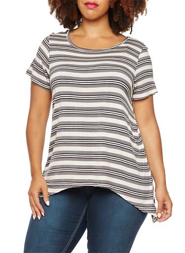 Plus Size Striped Top with Asymmetrical Hem,BLACK-GREY- WHITE,large