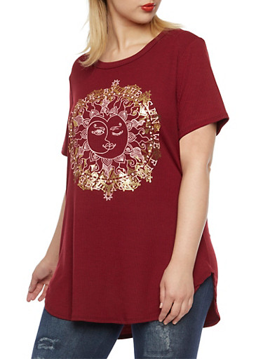 Plus Size Top with Sun and Moon Graphic,GOLD FOIL-BURG,large