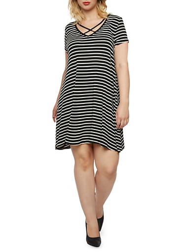 Plus Size Caged Neck Striped Trapeze Dress,BLACK/WHITE,large