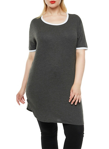 Plus Size Ringer Tunic Top with Round Hem,CHARCOAL-WHITE,large