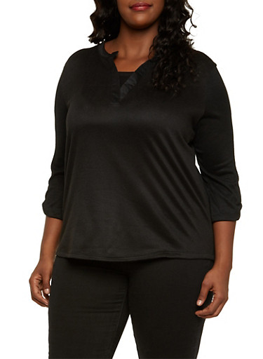 Plus Size V Neck Top with High Low Hem,BLACK,large