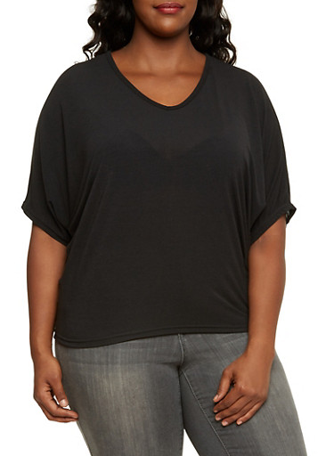 Plus Size V Neck Dolman Top,BLACK,large