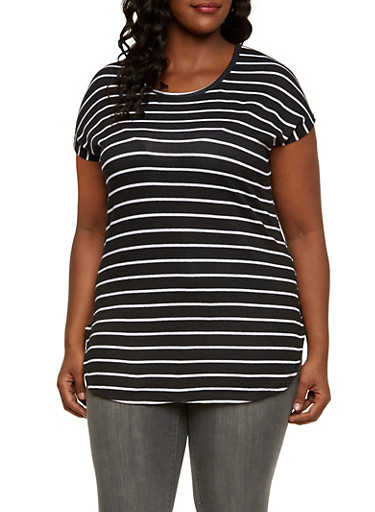 Plus Size High Low Top with Stripe Print,BLACK/WHITE,large