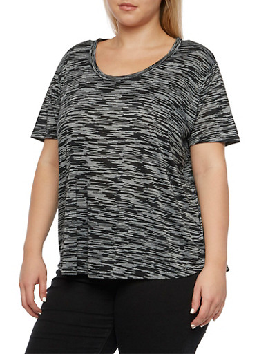 Plus Size Space Dye Tee with High-Low Hem,BLACK,large