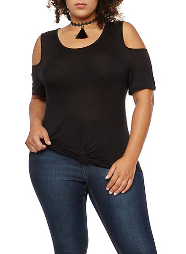 Plus Size Knot Front Cold Shoulder Top with Tassel Choker,BLACK,large